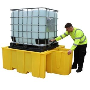 Single IBC Spill Pallet (with Integral dispensing area, with grid)