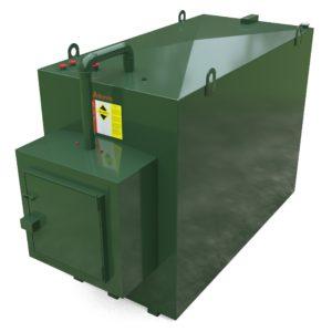 4500 litre steel bunded oil tank c/w fill point cabinet